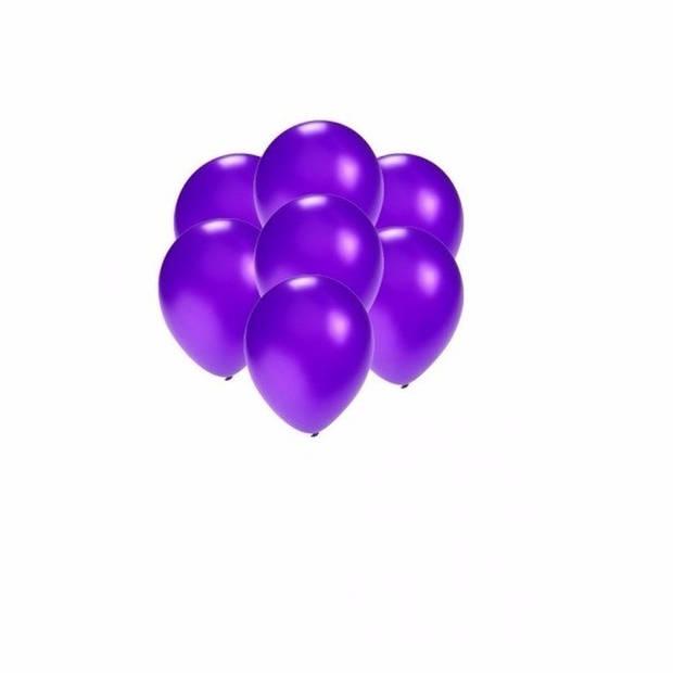 Kleine ballonnen paars metallic 100 stuks - paarse feestartikelen