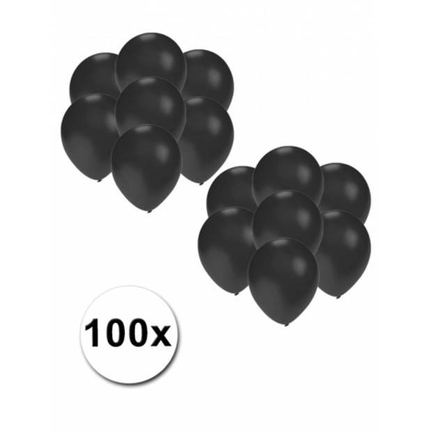 Kleine ballonnen zwart metallic 100 stuks