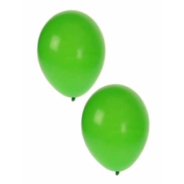 10x stuks groene party ballonnen 27 cm - Lucht en helium geschikt - Feestartikelen/versiering