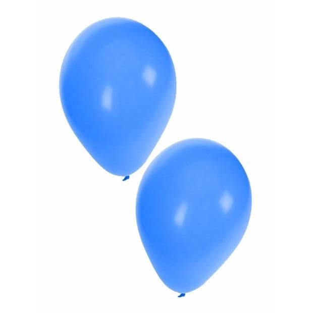 10x stuks Blauwe party/feest/verjaardag ballonnen 27 cm - Feestartikelen en versiering