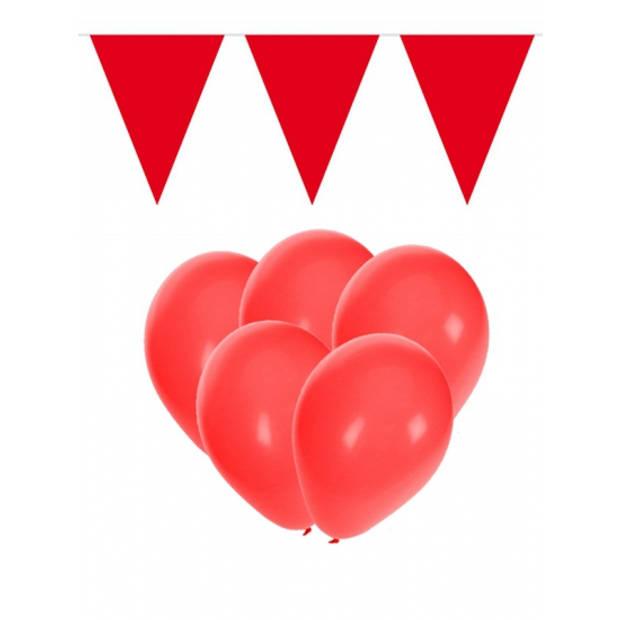 Rode versiering 15 ballonnen en 2 vlaggenlijnen