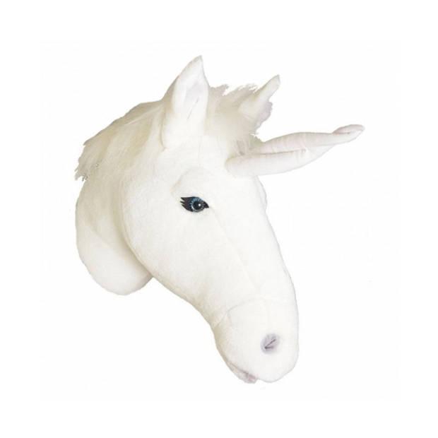 Pluche eenhoorn dierenhoofd knuffel 30 cm - Unicorn/eenhoornkop - Kinderkamer muurdecoratie
