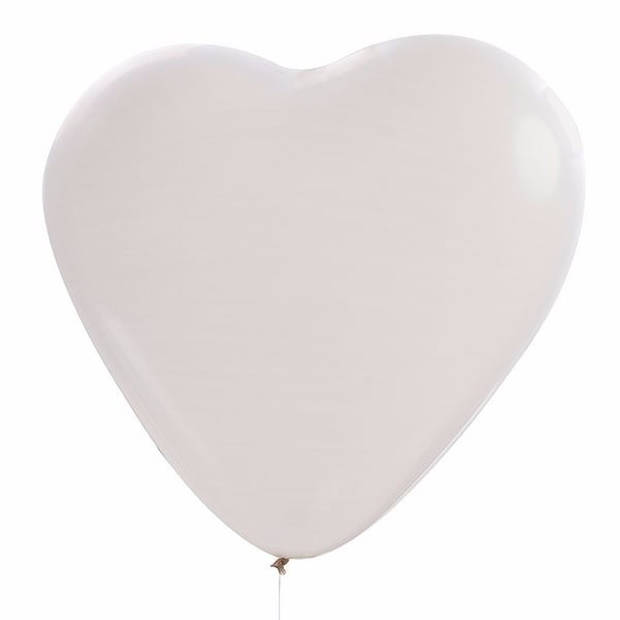 36x Hartjes ballonnen wit