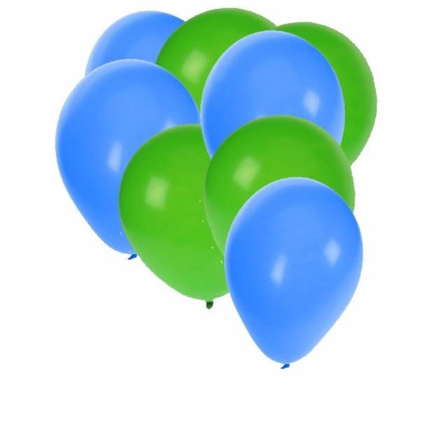 30x ballonnen - 27 cm- groen / blauwe versiering