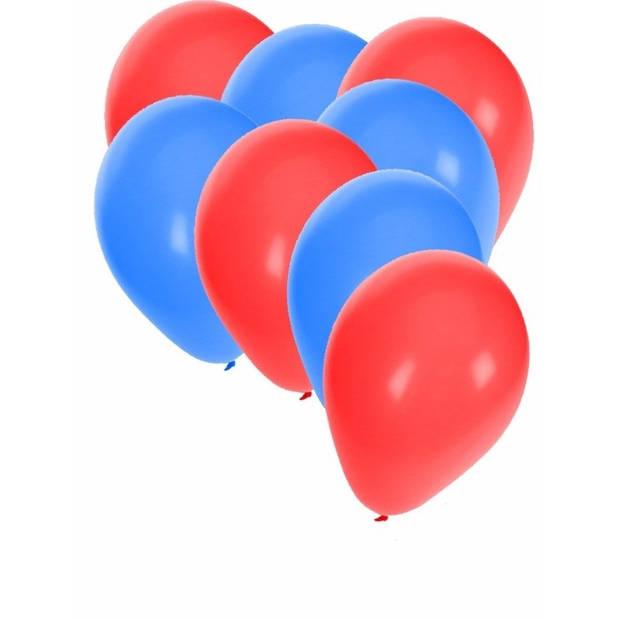 30x ballonnen - 27 cm - rood / blauwe versiering