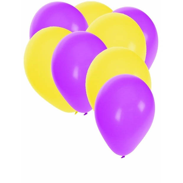 30x ballonnen - 27 cm - paars / gele versiering