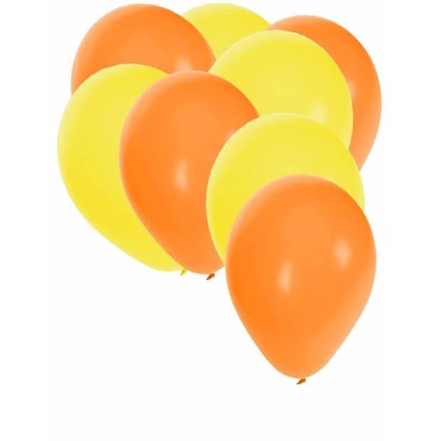 30x ballonnen - 27 cm - oranje / gele versiering