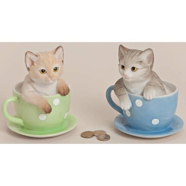 Spaarpot kat in theekopje 17 cm blauw