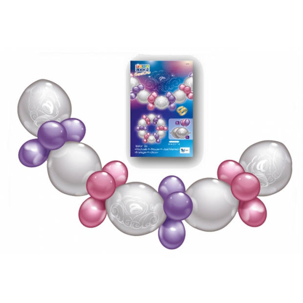 Ballonnen slinger guirlande roze/paars