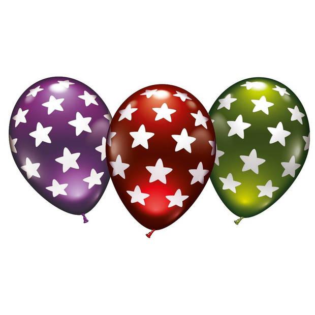 6x stuks luxe Metallic ballonnen met sterren 30 cm - Feestartikelen/versieringen