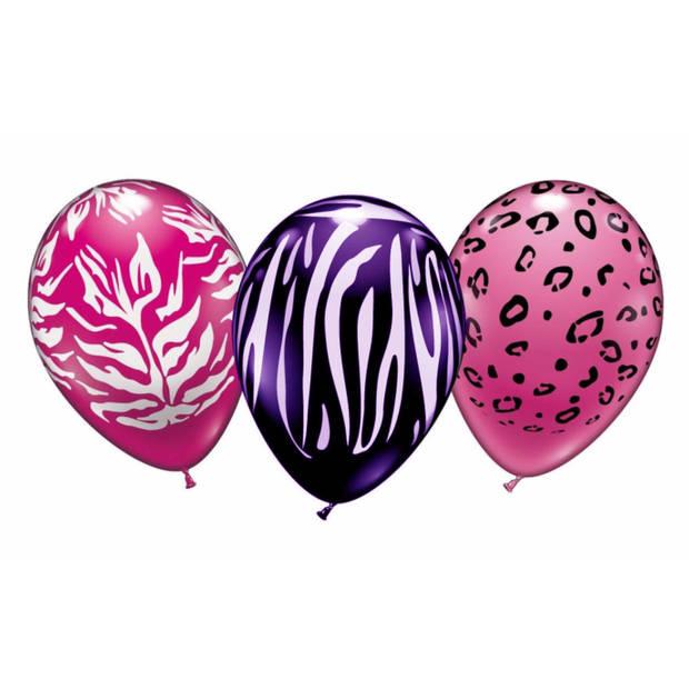 6x stuks Dierenprint thema party ballonnen 28 cm - Feestartikelen/versiering