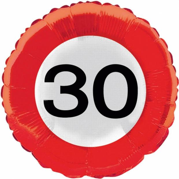 Folie ballon verkeersbord 30 jaar