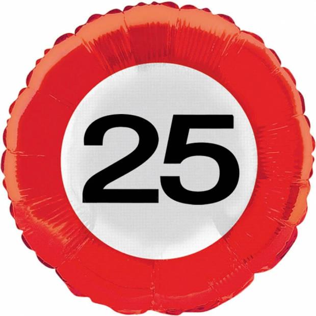 25 jaar versiering helium ballon verkeersbord - Feestartikelen - Verjaardag