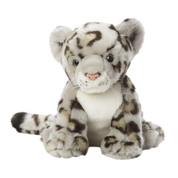 Pluche sneeuwluipaard knuffel 22 cm - Luipaardem speelgoed knuffels artikelen