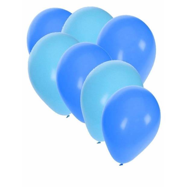 30x ballonnen - 27 cm - lichtblauw / blauwe versiering