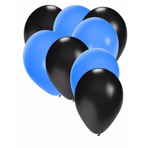 30x ballonnen - 27 cm - zwart / blauwe versiering