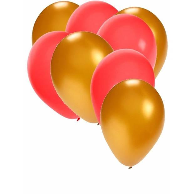 30x ballonnen - 27 cm - goud / rode versiering