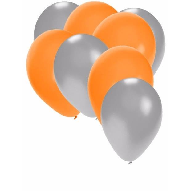30x ballonnen - 27 cm - zilver / oranje versiering
