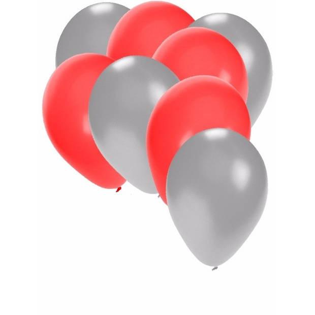 30x ballonnen - 27 cm zilver / rode versiering
