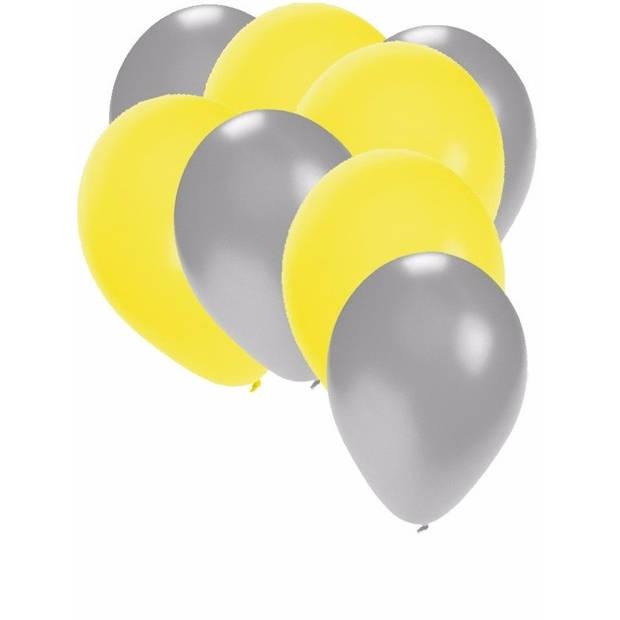 30x ballonnen 27 cm - zilver / gele versiering