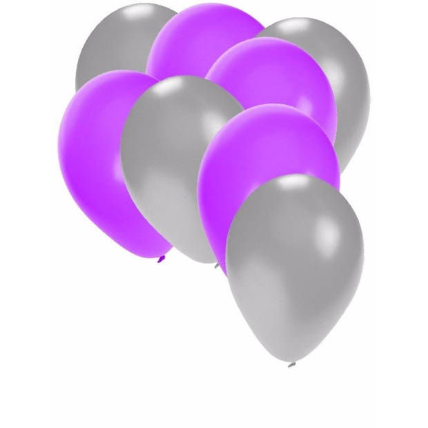 30x ballonnen 27 cm - zilver / paarseversiering