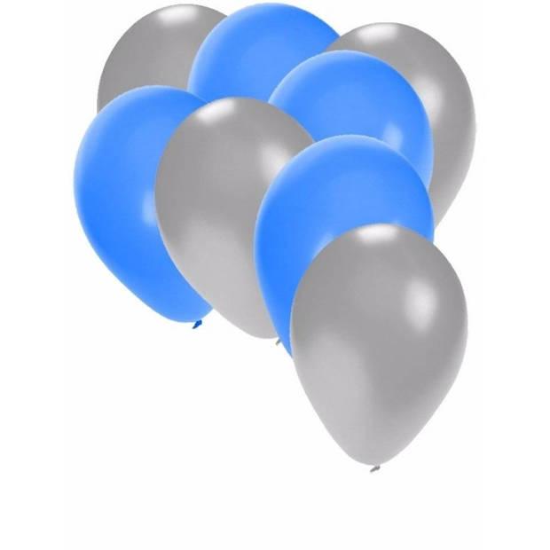 30x ballonnen 27 cm - zilver / blauwe versiering
