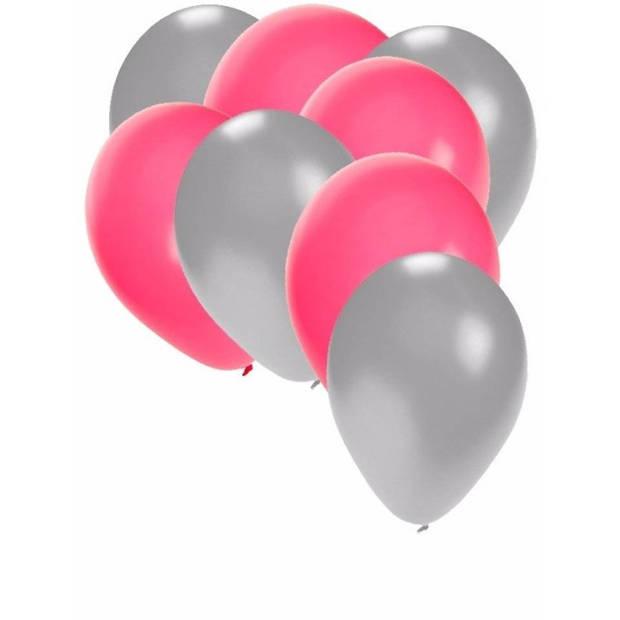 30x ballonnen zilver en roze