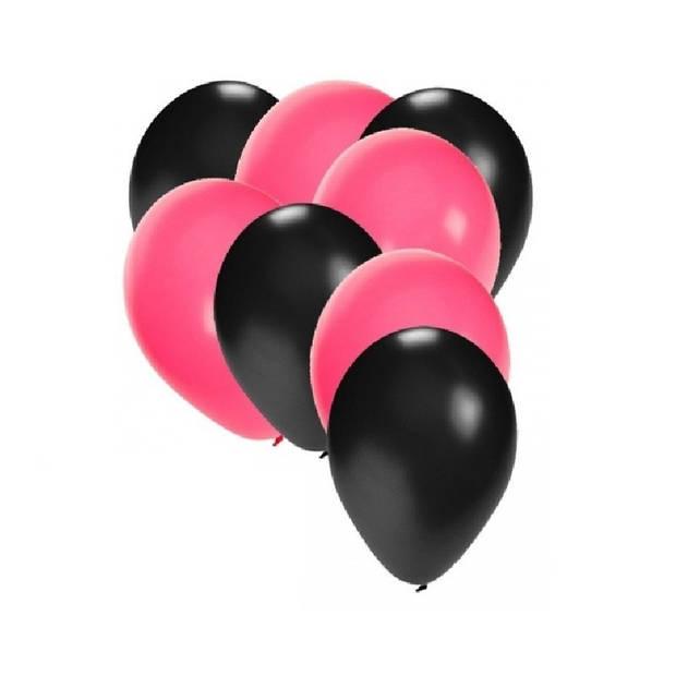 30x ballonnen zwart en roze
