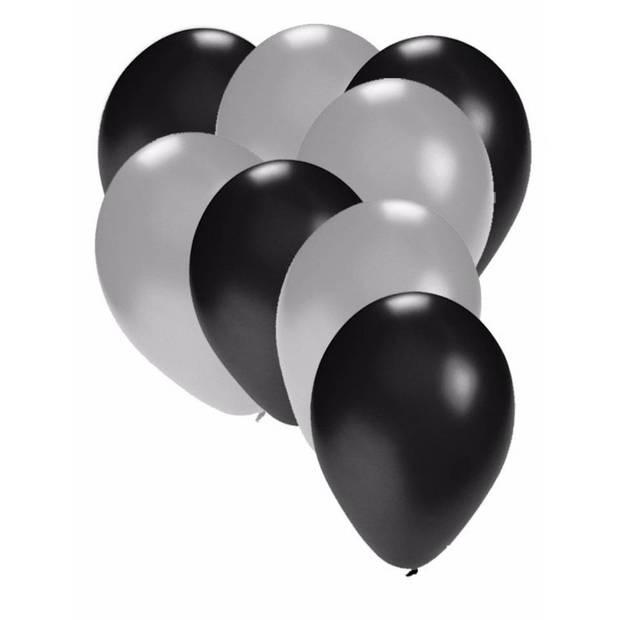 30x ballonnen zwart en zilver