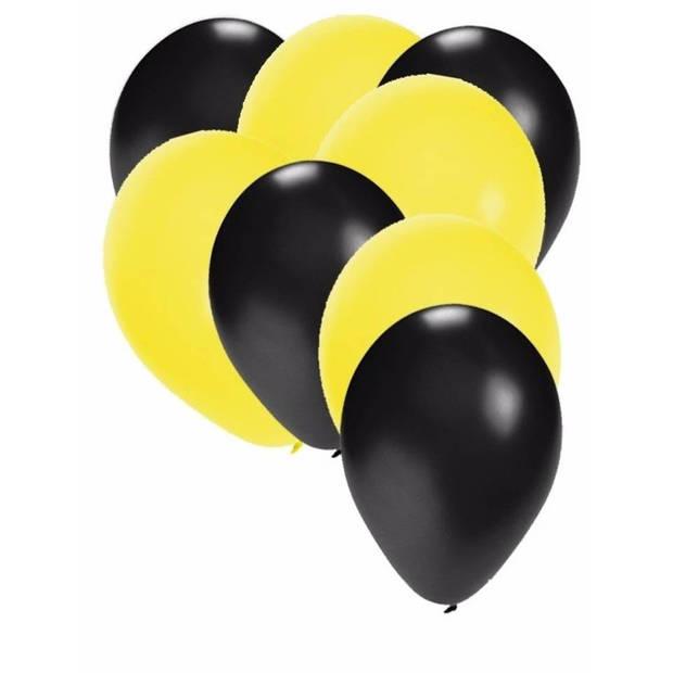 30x ballonnen zwart en geel - 27 cm - zwarte / gele versiering
