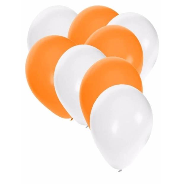 30x ballonnen wit en oranje - 27 cm - witte / oranje versiering