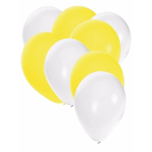 30x ballonnen wit en geel - 27 cm - witte / gele versiering