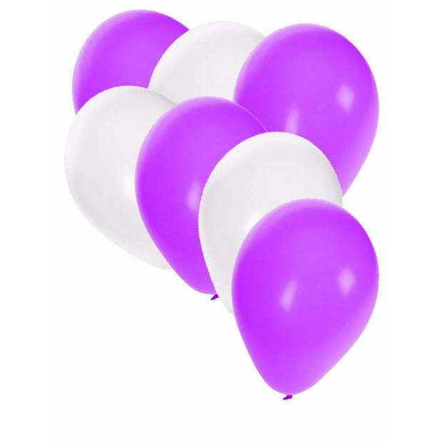 30x ballonnen wit en paars - 27 cm - witte / paarse versiering