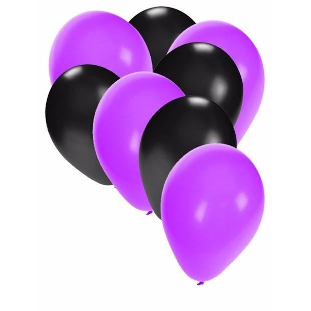 30x ballonnen paars en zwart - 27 cm - paarse / zwarte versiering