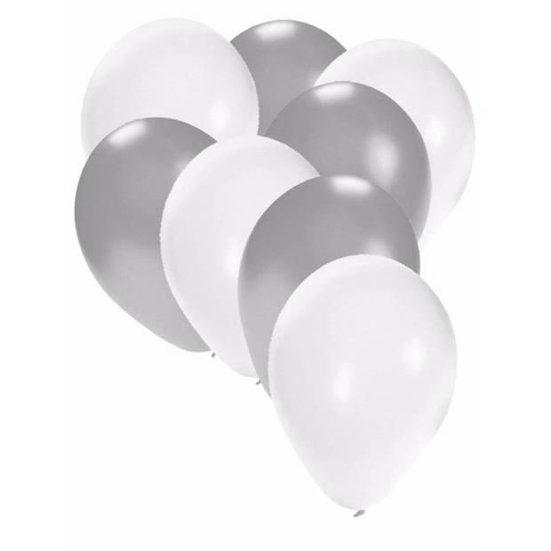 30x ballonnen wit en zilver - 27 cm - witte / zilveren versiering