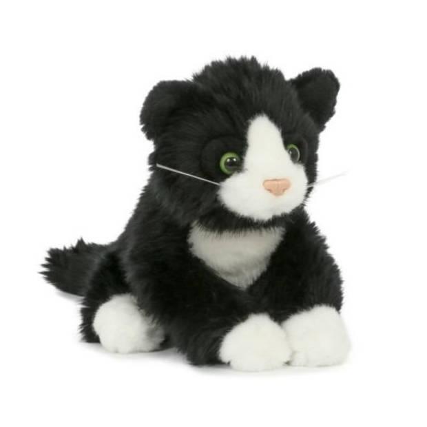Pluche poes/kat zwart wit 18 cm