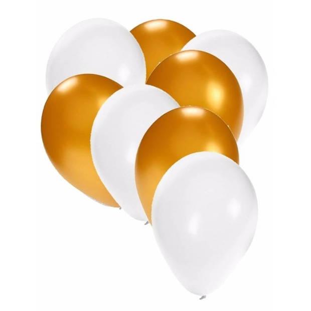 30x ballonnen wit en goud - 27 cm - witte / gouden versiering