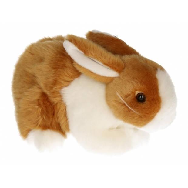 Pluche konijn knuffel bruin/wit 20 cm - Konijnen knuffels