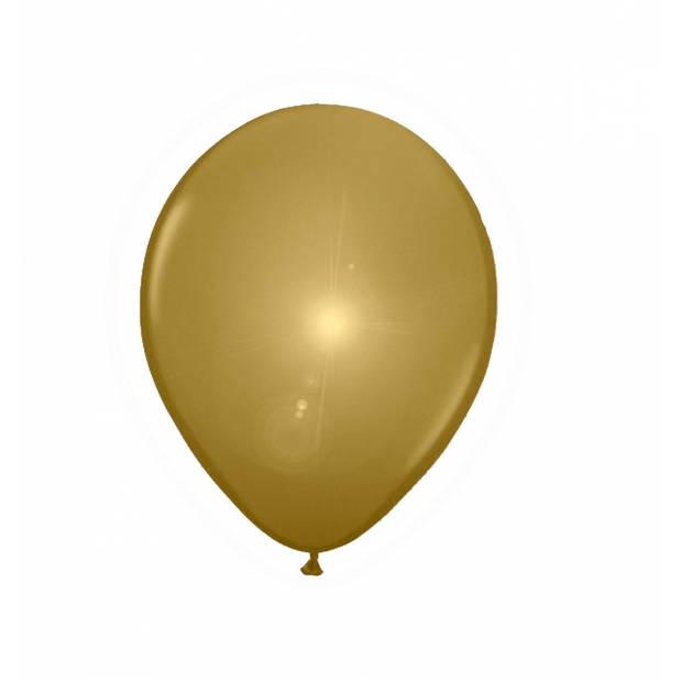 LED licht ballonnen goud 5x stuks - Verlichte ballonnen feestartikelen/versiering