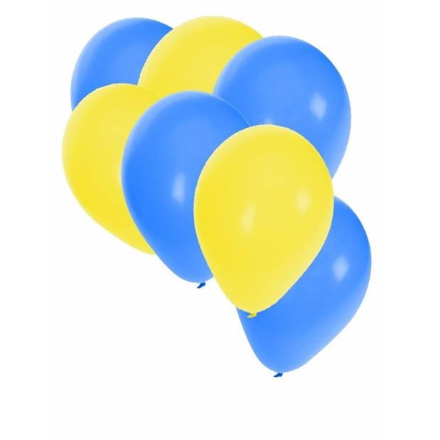 30x Ballonnen geel en blauw - 27 cm - gele / blauwe versiering