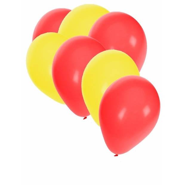 30x ballonnen geel en rood - 27 cm - gele / rode versiering