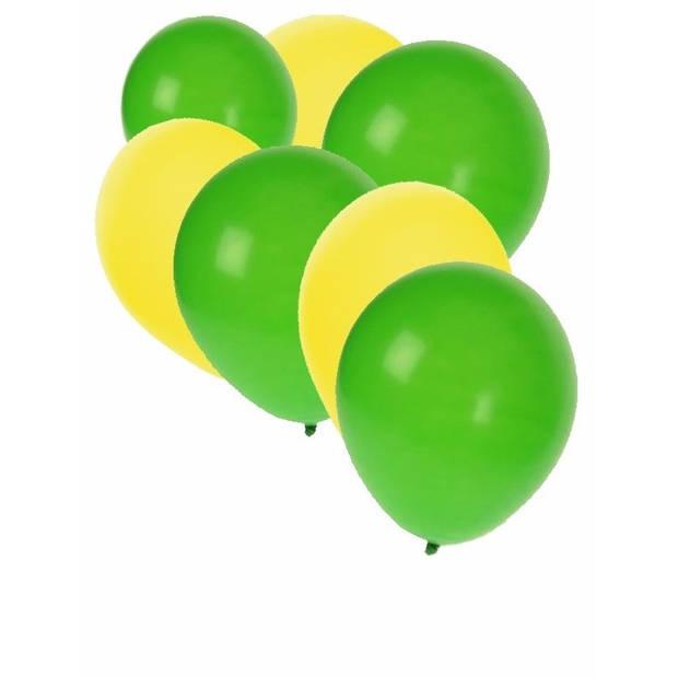 30x Ballonnen geel en groen - 27 cm - gele / groene versiering