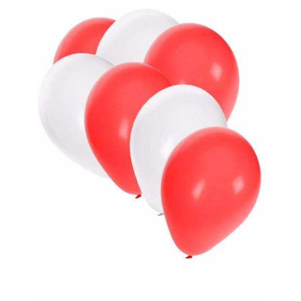 30x Ballonnen wit en rood - 27 cm - rode / witte versiering