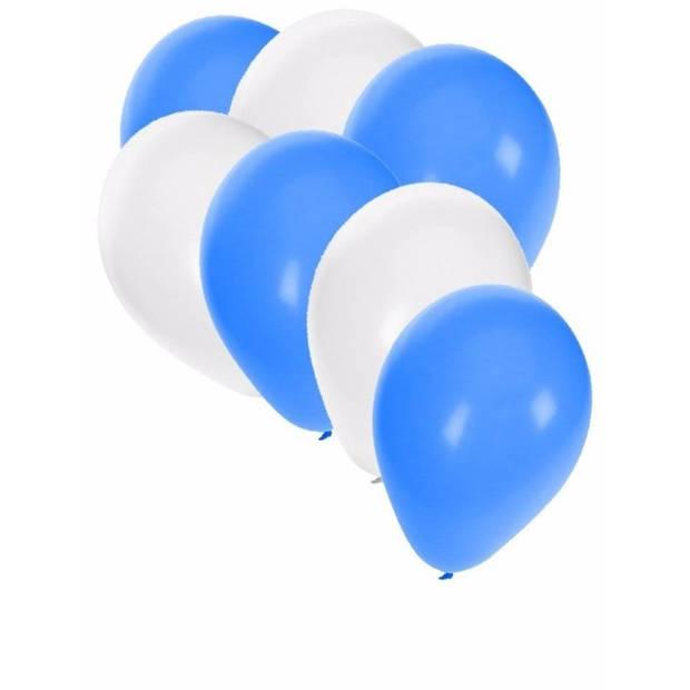 30x Ballonnen blauw en wit - 27 cm - witte / blauwe versiering