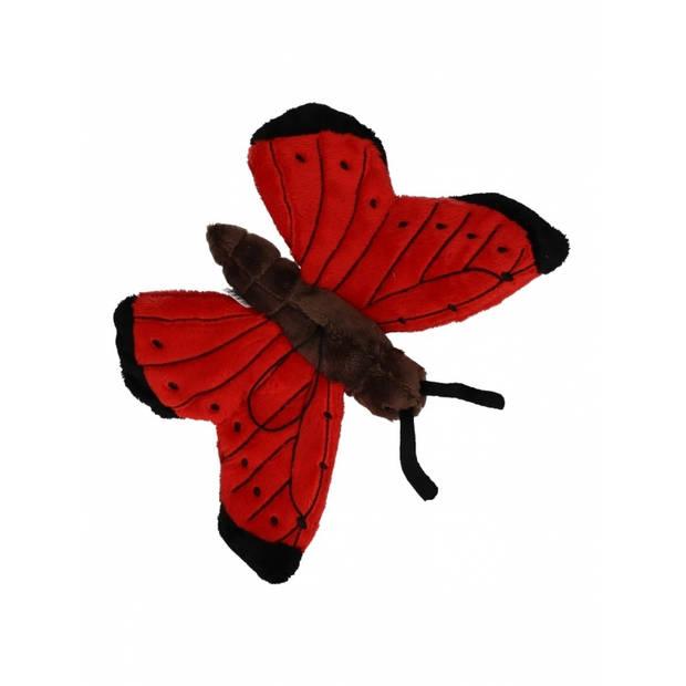 Pluche rode vlinder 21 cm