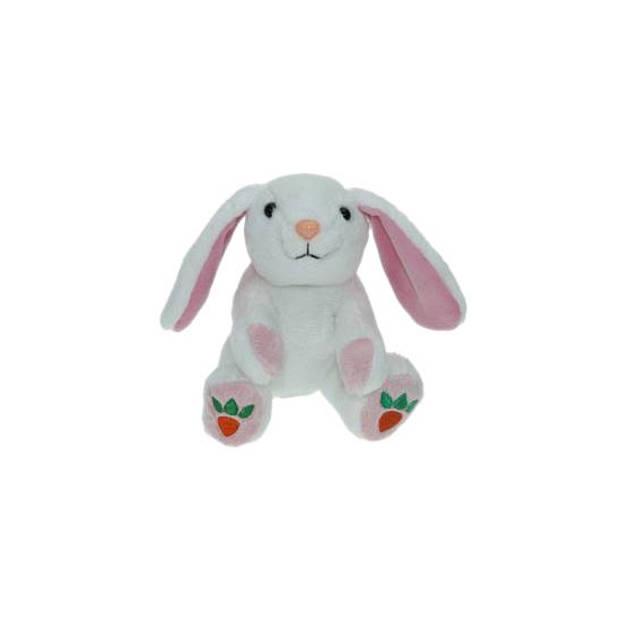 Pluche witte konijn/haas knuffel 14 cm speelgoed - Konijnen/hazen bosdieren knuffels - Speelgoed voor kinderen