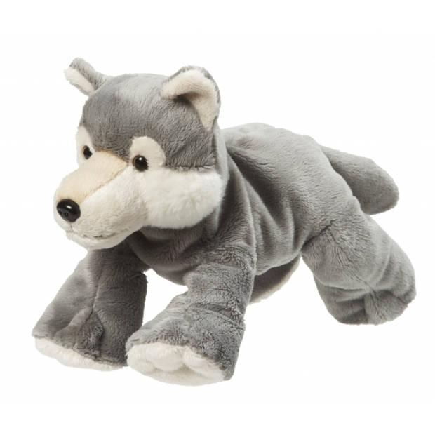 Pluche knuffel grijze wolf van 22 cm - Wolven speelgoed knuffels artikelen.