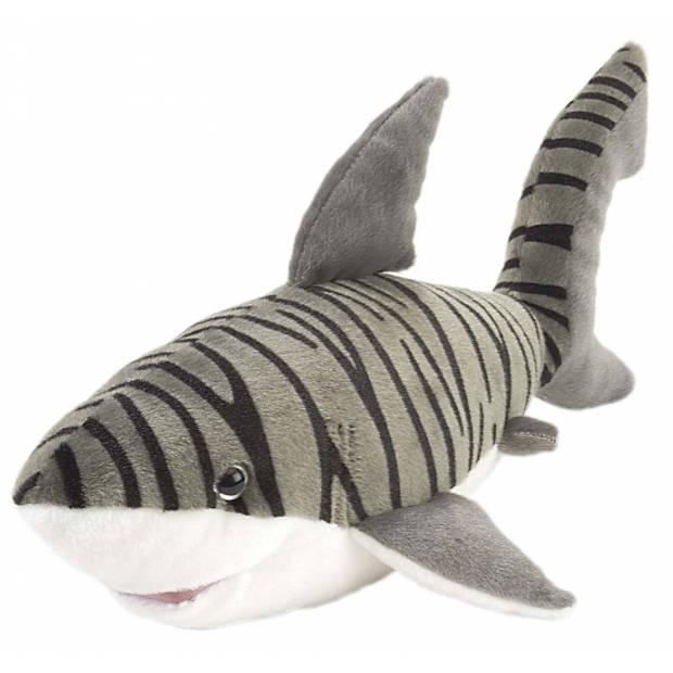 Pluche tijgerhaai knuffel van 38 cm - Haaien knuffels/knuffelbeesten