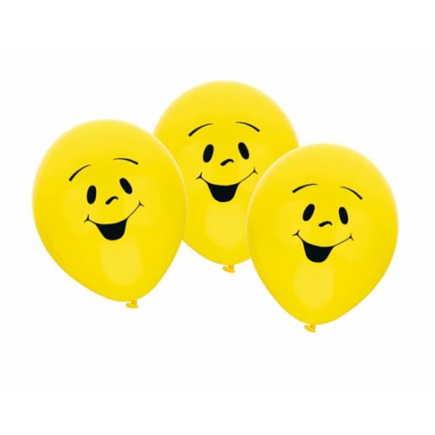 6x stuks gele Party ballonnen smiley emoticons thema - Verjaardag feestartikelen/versiering