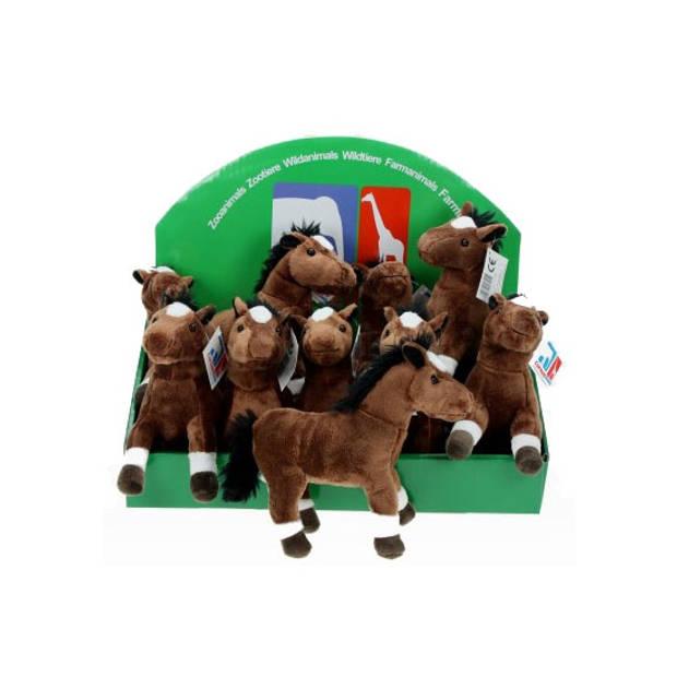 Pluche paard bruin 19 cm